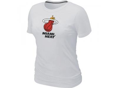 Women NBA Miami Heat Big & Tall Primary Logo White T-Shirt