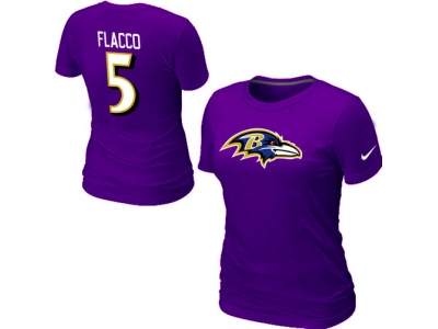 Women NEW Baltimore Ravens 5 Flacco Name & Number T-Shirt- Purple