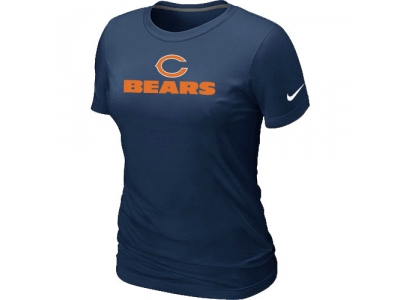 Women NEW Chicago Bears Authentic logo T-Shirt D.blue