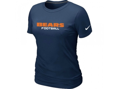 Women NEW Chicago Bears Sideline Legend Authentic Font T-Shirt D.Blue