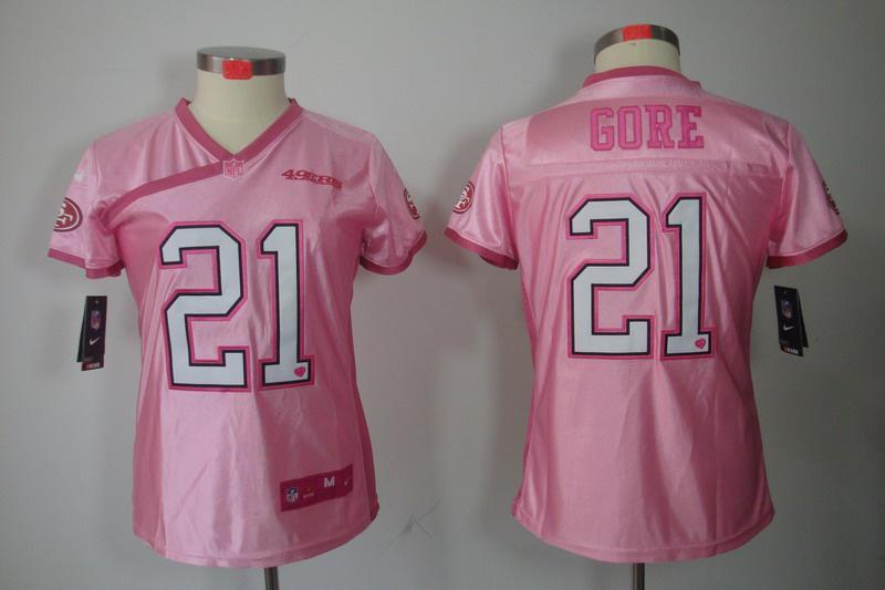 Women NEW NFL San Francisco 49ers #21 Frank Gore Pink Jerseys