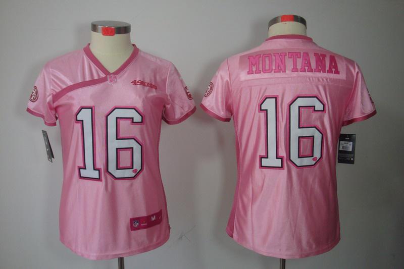 Women NEW NFL San Francisco 49ers 16 joe Montana Pink Jerseys