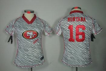 Women NEW San Francisco 49ers 16 joe Montana FEM FAN Zebra NFL Jerseys