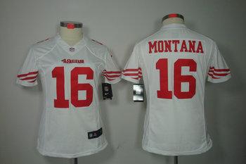 Women NEW San Francisco 49ers 16 joe Montana White Jerseys