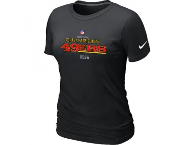 Women NEW San Francisco 49ers 2012 NFC Conference Champions Trophy Collection Long Black T-Shirt
