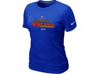Women NEW San Francisco 49ers 2012 NFC Conference Champions Trophy Collection Long Blue T-Shirt
