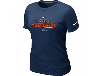 Women NEW San Francisco 49ers 2012 NFC Conference Champions Trophy Collection Long D.Blue T-Shirt