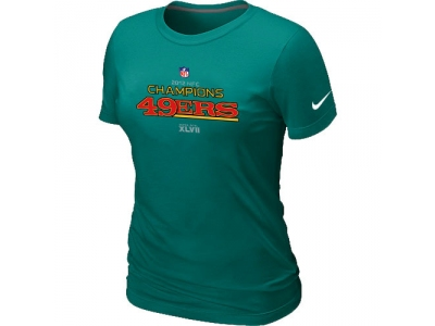 Women NEW San Francisco 49ers 2012 NFC Conference Champions Trophy Collection Long L.Green T-Shirt
