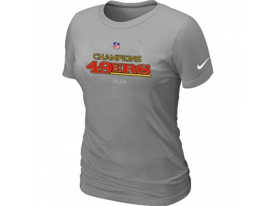 Women NEW San Francisco 49ers 2012 NFC Conference Champions Trophy Collection Long L.Grey T-Shirt