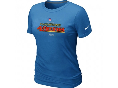 Women NEW San Francisco 49ers 2012 NFC Conference Champions Trophy Collection Long L.blue T-Shirt