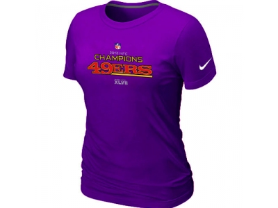Women NEW San Francisco 49ers 2012 NFC Conference Champions Trophy Collection Long Purple T-Shirt
