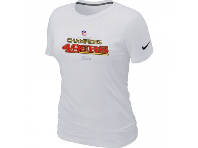 Women NEW San Francisco 49ers 2012 NFC Conference Champions Trophy Collection Long White T-Shirt