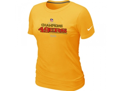 Women NEW San Francisco 49ers 2012 NFC Conference Champions Trophy Collection Long Yellow T-Shirt