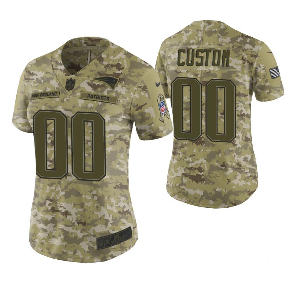 Women New England Patriots Custom Camo 2018 Salute To Service Limited Jersey
