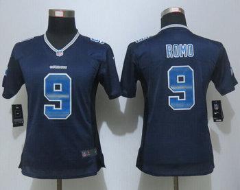 Women New Nike Dallas Cowboys 9 Tony Romo Navy Blue Strobe Elite Jersey