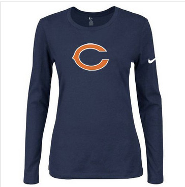 Women Nike Chicago Bears Of The City Long Sleeve Tri-Blend NFL T-Shirt Dark Blue-1