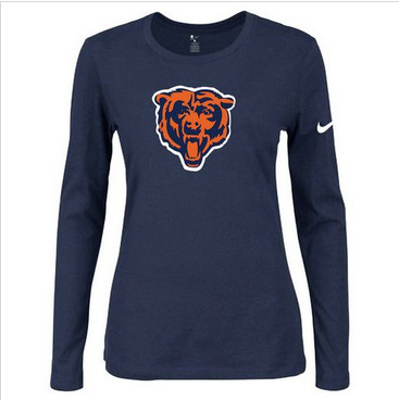 Women Nike Chicago Bears Of The City Long Sleeve Tri-Blend NFL T-Shirt Dark Blue-2