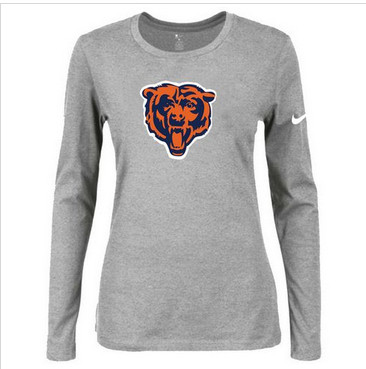 Women Nike Chicago Bears Of The City Long Sleeve Tri-Blend NFL T-Shirt Light Grey
