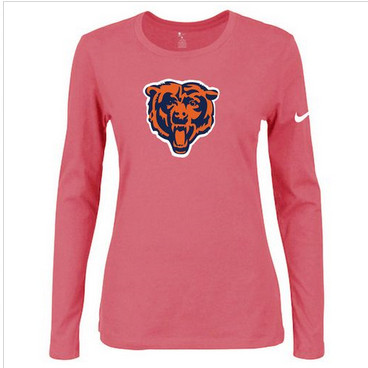 Women Nike Chicago Bears Of The City Long Sleeve Tri-Blend NFL T-Shirt Pink