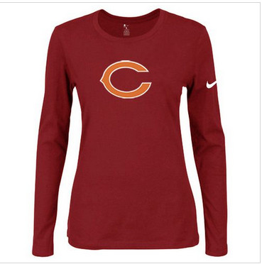 Women Nike Chicago Bears Of The City Long Sleeve Tri-Blend NFL T-Shirt Red