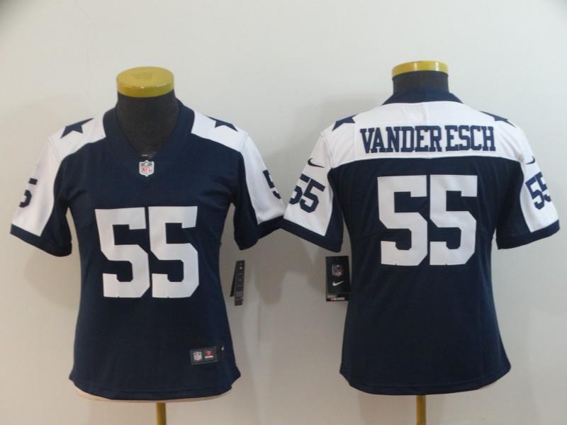 Women Nike Cowboys 55 Leighton Vander Esch Navy Alternate Women Vapor Untouchable Limited Jersey