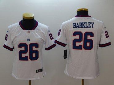Women Nike Giants 26 Saquon Barkley White Women Color Rush Limited Jersey