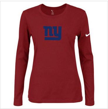 Women Nike New York Giants Of The City Long Sleeve Tri-Blend NFL T-Shirt Red-2