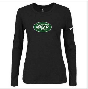 Women Nike New York Jets Of The City Long Sleeve Tri-Blend NFL T-Shirt Black