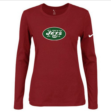 Women Nike New York Jets Of The City Long Sleeve Tri-Blend NFL T-Shirt Red