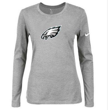 Women Nike Philadelphia Eagles Of The City Long Sleeve Tri-Blend NFL T-Shirt Light Grey