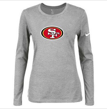 Women Nike San Francisco 49ers Of The City Long Sleeve Tri-Blend NFL T-Shirt Light Grey