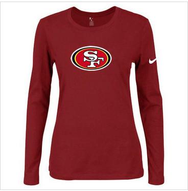 Women Nike San Francisco 49ers Of The City Long Sleeve Tri-Blend NFL T-Shirt Red