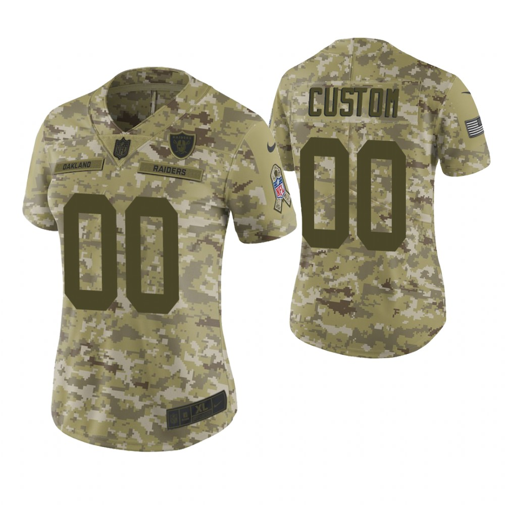 Women Oakland Raiders Custom Camo 2018 Salute To Service Limited Jersey