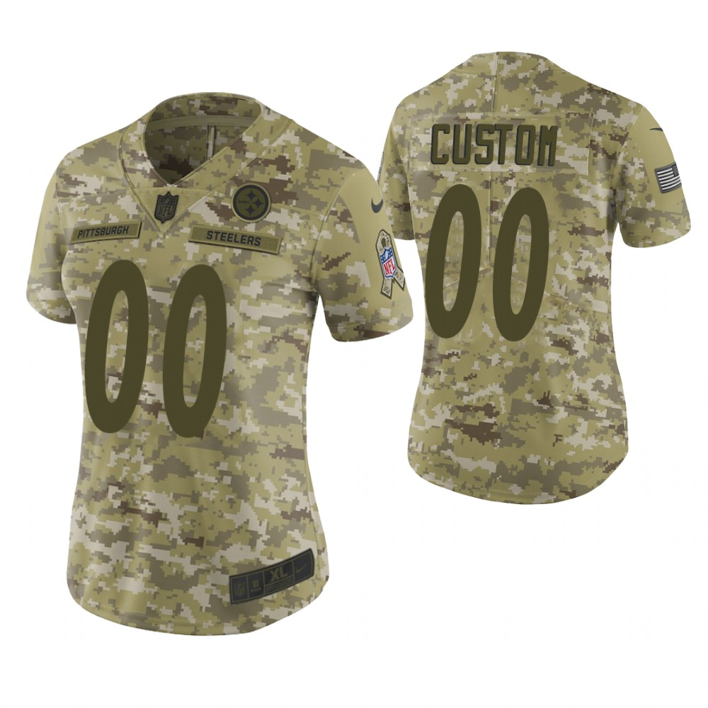 Women Pittsburgh Steelers Custom Camo 2018 Salute To Service Limited Jersey
