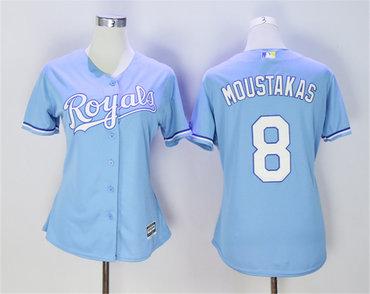 Women Royals 8 Mike Moustakas Light Blue Women Cool Base Jersey
