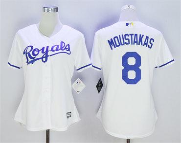 Women Royals 8 Mike Moustakas White Women Cool Base Jersey