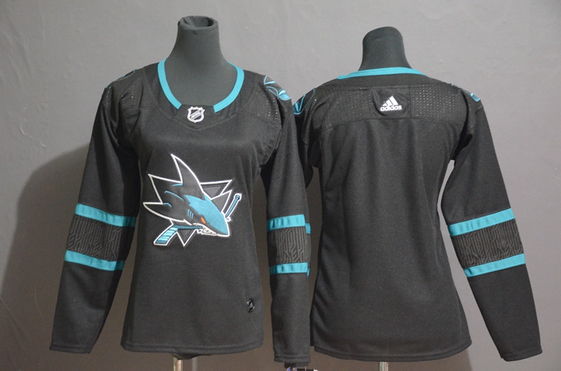 Women Sharks Blank Black Women Adidas Jersey