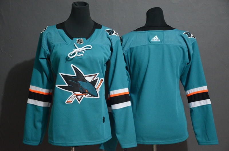 Women Sharks Blank Teal Women Adidas Jersey