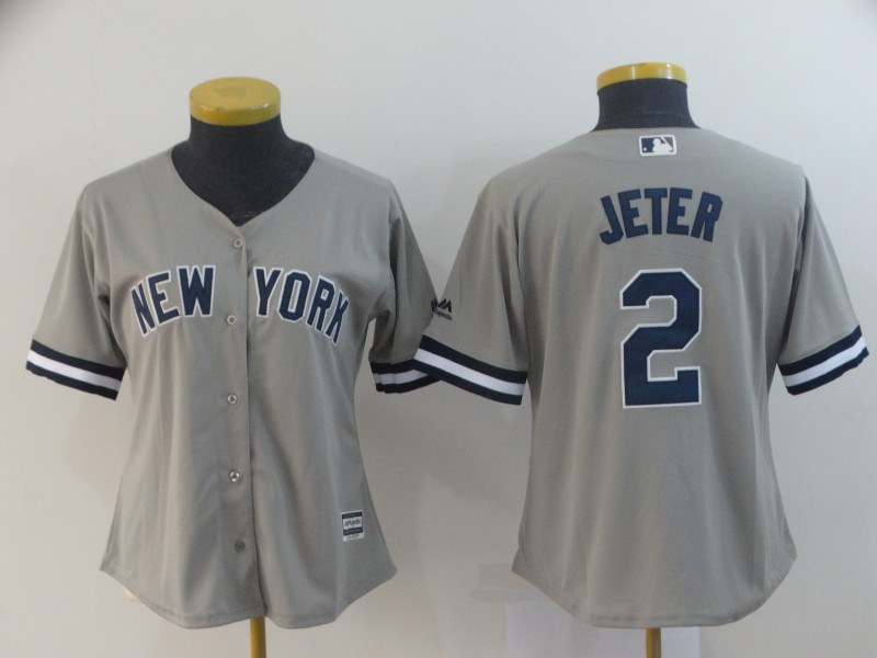 Women Yankees 2 Derek Jeter Gray Women Cool Base Jersey