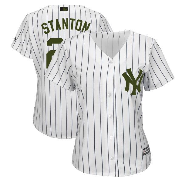 Women Yankees 27 Giancarlo Stanton White Women 2018 Memorial Day Cool Base Jersey