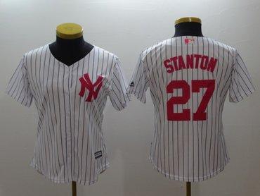 Women Yankees 27 Giancarlo Stanton White Women Mother's Day Cool Base Jersey