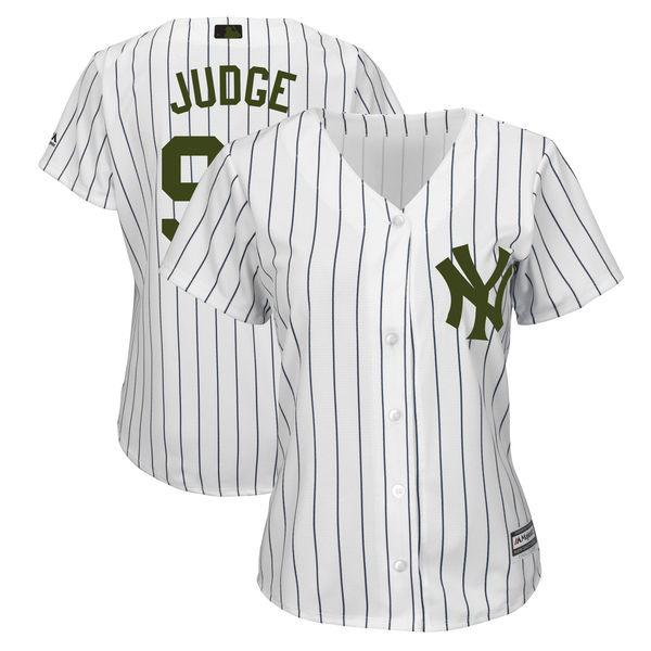 Women Yankees 99 Aaron Judge White Women 2018 Memorial Day Cool Base Jersey