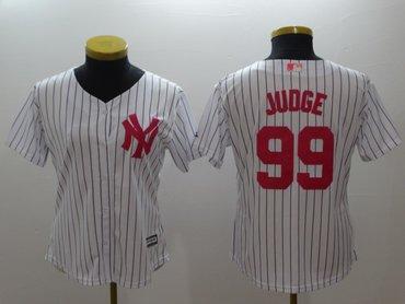 Women Yankees 99 Aaron Judge White Women Mother's Day Cool Base Jersey