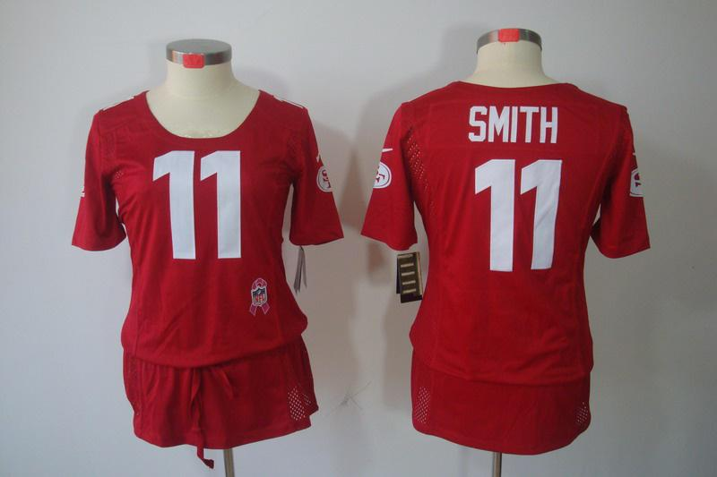 Womens NEW San Francisco 49ers 11 Alex Smith breast Cancer Awareness Red Jerseys