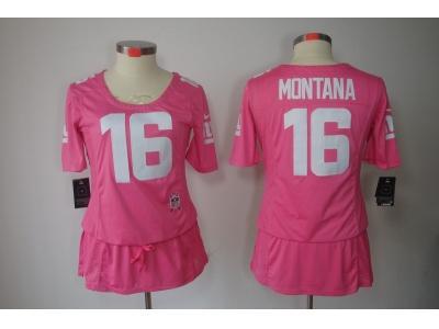 Womens NEW San Francisco 49ers 16 Montana Elite breast Cancer Awareness Pink Jerseys