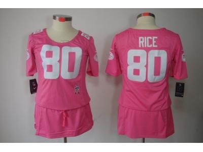 Womens NEW San Francisco 49ers 80 Rice Elite breast Cancer Awareness Pink Jerseys
