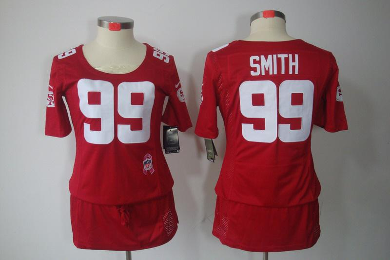 Womens NEW San Francisco 49ers 99 Aldon Smith breast Cancer Awareness Red Jerseys
