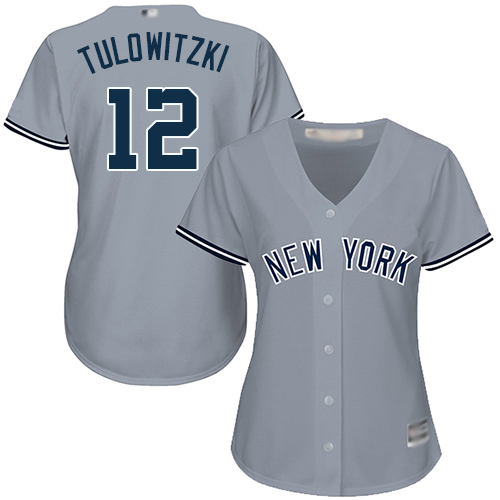 Yankees #12 Troy Tulowitzki Grey Road Women's Stitched Baseball Jersey