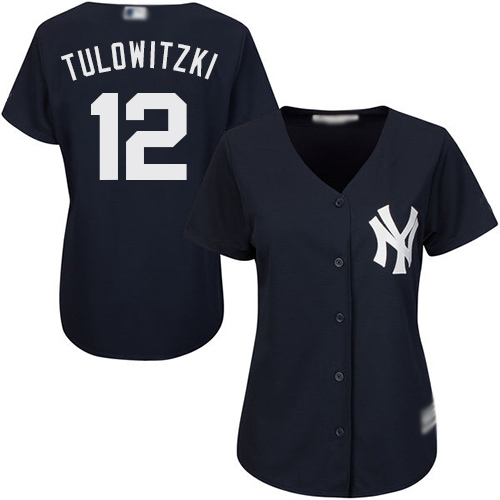 Yankees #12 Troy Tulowitzki Navy Blue Alternate Women's Stitched Baseball Jersey