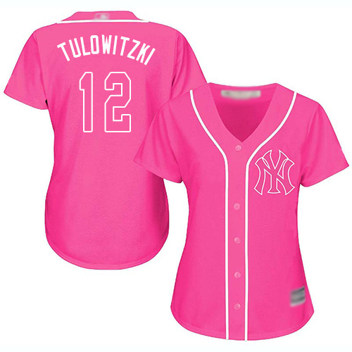 Yankees #12 Troy Tulowitzki Pink Fashion Women's Stitched Baseball Jersey